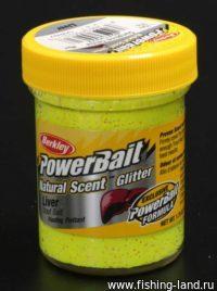 Паста Berkley Natural scent TroutBait Liver-Sunshine yellow (печень) 50гр